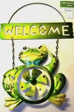 Garden Hanging Frog Welcome Sign Green Gold Windmill Blue Bowtie Metal Decor New