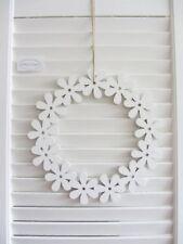 Tür-Kranz BLUMEN-KRANZ zum hängen weiß Holz Fenster Deko 25cm Shabby Skandi