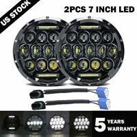 2x 7inch Round Black Halo Led Headlight Hi-Lo Beam 85W For Freightliner Century
