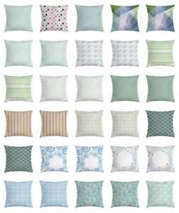 Teal and White Throw Pillow Cases Cushion Covers Home Decor 8 Sizes by Ambesonne