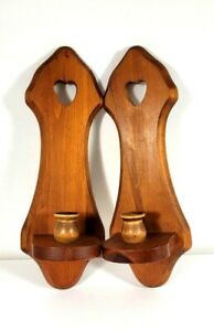 Set of Two Wood Candle Holders Wall Mount Country Heart 15 Inches Long