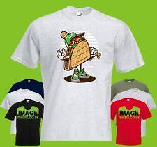 Taco Mens PRINTED T-SHIRT Cartoon Food Baseball Bat Cap Sport Sports