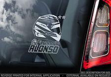 Fernando Alonso-Voiture Fenêtre Autocollant-F1 Ferrari Casque Formule 1 Decal-V01