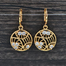 Fashion Women Gold Plated Hollow Out Sphere Clear CZ Flower Earrings Jewelry