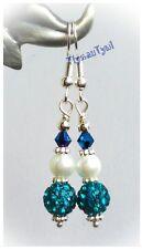 Shamballa, Pearl & Crystal Earrings.. Short Dangle..Silver Plated..Royal Blue