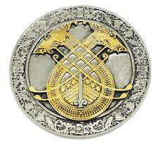Celtic Gürtelschnalle rund 3d Norse Design 24ct Gold Authentic Dragon Designs