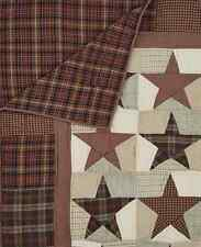 ABILENE STAR 50x60 QUILT THROW : WESTERN PRIMITIVE RED PATCH CABIN BLANKET