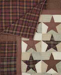 ABILENE STAR 50x60 QUILT THROW : WESTERN PRIMITIVE RED PATCH CABIN BLANKET
