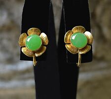 CHINESE Bright Apple Green JADEITE 8mm Cabochon 10k Gold Screw Back EARRINGS