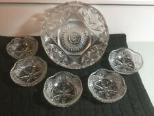 Antique AMERICAN BRILLIANT Heavy Cut Glass BERRY Fruit  Bowl  Set with cups ABP