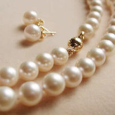 """Genuine Natural 8-9MM White Akoya Pearl Necklace + Earrings Set  AAA 18"""""""