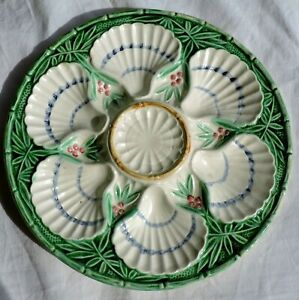 French Majolica Oysters Plate Bamboo