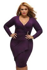 Womens Sexy Long Sleeved Wrap Around Asymmetrical Purple Plus Size Midi Dress
