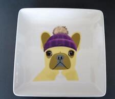 Magenta French Bull Dog in Stocking Cap Ceramic Plate 8 in by 8 in NWOT  Cute!