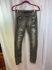Antique Rivet Sz 27/31 Black Distressed Jeweled Detail Skinny Jeans