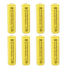 8pcs AA 2A 3000 (Actual 300mAh) 1.2V Ni-MH NiMH Rechargeable Battery Cell Yellow
