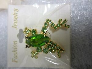 """Fashion Jewelry Metal gold in color with green/blk eyes rhinestones frog 1 3/4"""""""