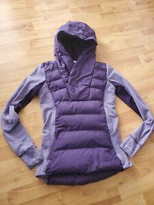Lululemon Fluff Off Pullover Hoodie Jacket Puffer 4 Plum Check Zinfandel Down