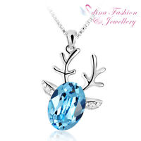 18K White & Yellow Gold GP Made With Swarovski Crystal Lovely Reindeer Necklace