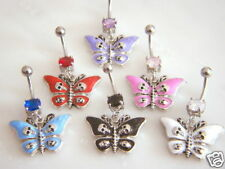B#33 - 6pc Butterfly w/Skulls 14g Navel Rings Belly Naval 316L Surgical Steel