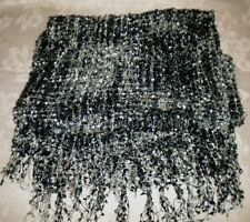 Multi-Color Loose-woven Scarf Black Pewter Gray Silver ICING Rayon Nylon Blend *