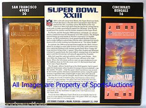 SUPER BOWL 23 SAN FRANCISCO 49ERS  BENGALS Willabee Ward 22KT GOLD TICKET XXIII