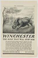 1909 Winchester Repeating Arms Firearm Rifle Gun Rhino Down Advertising Print Ad
