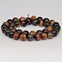 Multi Tiger's Eye Gemstone Smooth Beads For Bracelet Necklace Beadwork 6-10mm