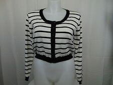 City Chic Plus Size Button Down Shrug Cardigan Sweater Black Stripe 16W #3752