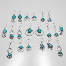 Natural Turquoise 30 pair Wholesale Lots 925 Sterling Silver Plated Earrings