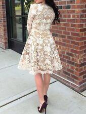 Beige Appliqué Cut out Crochet Lace Dress Sz S Vintage Victorian Stl