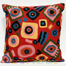 Set of 2 Art Deco Red Cushion Bohemian Decorative Throw Pillow Cover W Insert