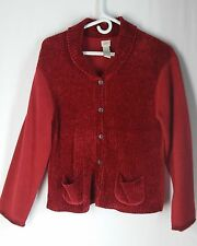 Womens Cardigan Sweater XS J. Jill Red Ribbed Chenille + Crushed Fleece Button