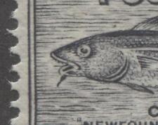 Newfoundland #233i 1c Black 1937 Long Coronation Perf 13.8 Fish Hook  VF-80 NH