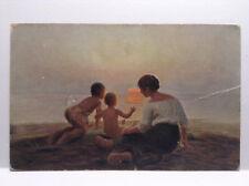 Danische Kunst Danish Arts H Brasen Mutterfreude Antique Postcard Family Beach