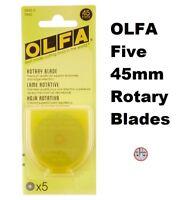 Genuine Olfa 45mm Rotary Cutter Blades, 5 Pack Replacement Tungsten Steel Blade