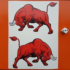 "Red Angry bull decal Autocollants Large 6"" Contour Coupé Année 7-10 Vinyle Scooter/voitures"