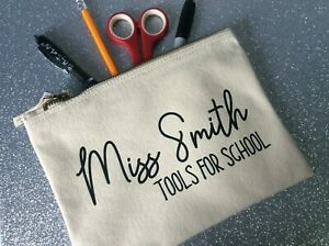 Personalised Teacher Gift: Accessory Bag or Pencil Case (Tools for School)