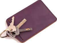 men women wallet purse cow Leather Card Cases key ring holder bag purple Z593