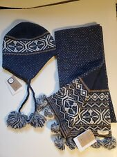 NWT LANDS END CANVAS WOMEN'S FAIRISLE HAT AND SCARF SET ONE SIZE WOOL REVERSIBLE