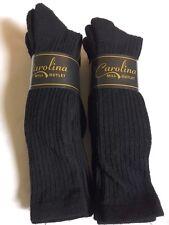 6 pr Women's OTC Black Ribbed 66% Merino Wool Boot Socks Sz 4-7 SM/MD