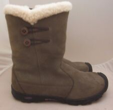 Keen Boots Womens Sz 6 Taupe Suede Leather Winter Boots Sherpa Fleece Lined Zip