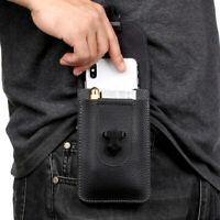 Men Leather Waist Bag Zipper Small Card Holder Packs Belt Phone Wallet Black