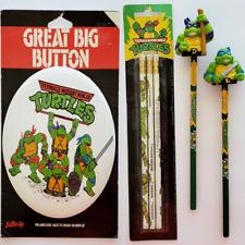 Vintage Teenage Mutant Ninja Turtles Pencils GREAT BIG Button 6PC TMNT 90s
