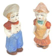 Vintage Set of 2 All Bisque Frozen Charlotte Penny Dolls - Japan
