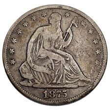 1875-CC 50C Seated Liberty Half Dollar in Fine Condition, Natural Color!