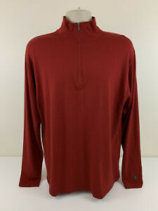 SmartWool Merino Wool 1/4 Zip Dark Orange Pullover Mens Size XL Base Layer USED