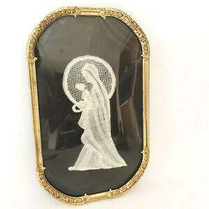 Vintage Hand Made Lace Mary And Baby Convex Round Ornate Gold Colored Frame