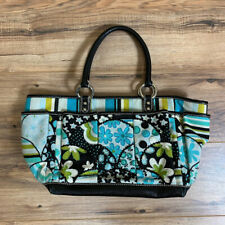 Isabella Fiore Beaded Floral Handbag Tote Black Blue Green Canvas Leather