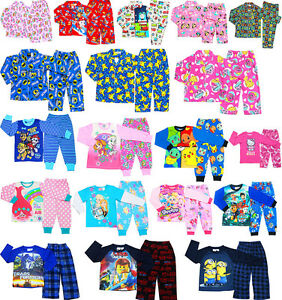 NEW SZ 1-16 KIDS PYJAMAS WINTER BOYS GIRL SLEEPWEAR POKEMON PAW NIGHTIES TEE PJS